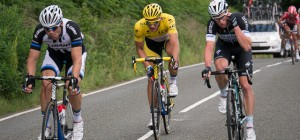 Marcel Kittel in the yellow jersey on the descent of Holme Moss.